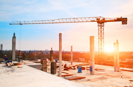 46592752 - tower crane at construction site in morning sunlight